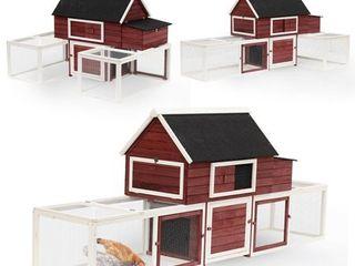 PawHut 114  Modular Wooden Backyard Chicken Coop With Nesting Box And Customizable Dual Outdoor Runs