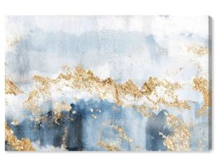 Oliver Gal Abstract Wall Art Framed Canvas Prints  Eight Days a Week  Watercolor   Blue  Gold