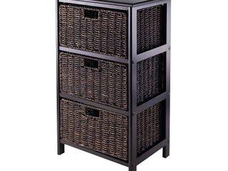 Omaha Storage Rack  3 Chocolate Baskets  Black Finish