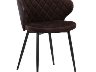 lOT OF TWO  Melissa Contemporary Dining Chairs in Black Powder Coated Finish and Faux leather