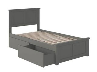 Madison Twin Platform Bed with Matching Foot Board with 2 Urban Bed Drawers in Atlantic Grey