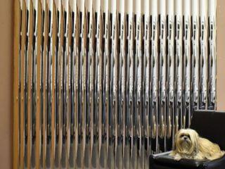 Silver Mirror Vinyl Vertical Blind  72  l x 36  to 98  W  CORDlESS