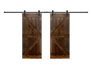 Paneled Wood Dark Brown Barn Door with Hardware Kit Double Door