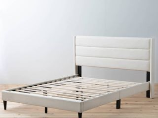 Brookside Sara Upholstered Bed w  Horizontal Channels   Queen Size in Cream