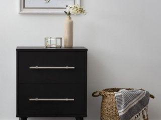 Brookside Emery Mid Century Modern Two Drawer Nightstand   Black