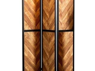 Rustic Tobacco and Black Herringbone Pattern 3 Panel Screen