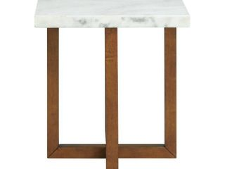 Picket House Furnishings Meyers Marble Square End Table in White