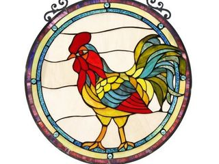 Chloe Tiffany Style Rooster Design Stained Glass Window Panel Suncatcher