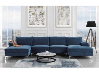 BOX 3 OF 3 Modern Xl Velvet Upholstery U shaped Sectional Sofa Navy Retail 1181 49