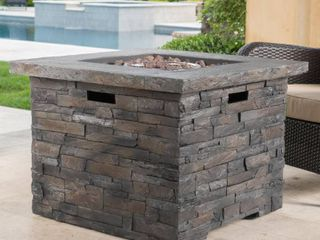 brown   square  Blaeberry Outdoor Stone Fire Pit by Christopher Knight Home Retail 674 49