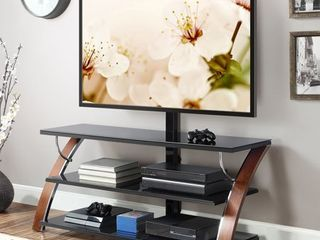 Whalen Payton 3 in 1 Flat Panel TV Stand for TVs up to 65  Brow Cherry Finish