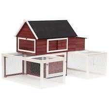 BOX 1 2 PawHut 114  Modular Wooden Backyard Chicken Coop With Nesting Box And Customizable Dual Outdoor Runs