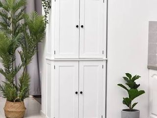 HomCom White Traditional Colonial Style Kitchen Pantry Cabinet Retail 346 49