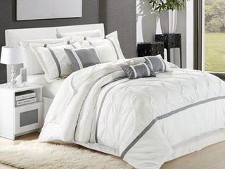 Queen 8pc Veronica Comforter Set White   Chic Home Design