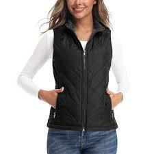 lARGE  Women s Vests lightweight Padded Vest Stand Collar Zip Quilted Gilet