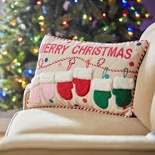 Home Reflections 1 light Up   2 Solid Holiday Pillow Set Mittens