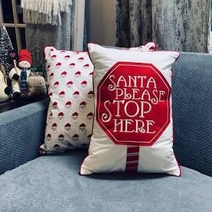 Home Reflections Set of 2 Affirmation Holiday Pillows Santa Stop Sign