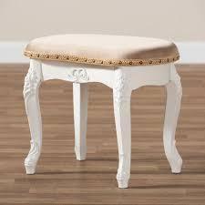 Gabrielle Velvet Fabric Upholstered Wood Vanity Ottoman Sand White Gold   Baxton Studio