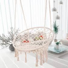 Hammock Chair Macrame Swing Hanging Cotton Rope Hammock Swing Outdoor  Retail 98 49