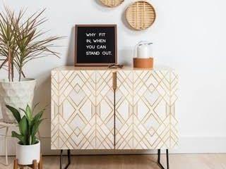 Deny Designs White Geometric Credenza  Birch or Walnut  3 leg Options  Retail 619 99