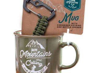 Adventure is Out There Mug with Carabiner Key Chain   Army Green
