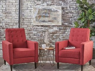 SINGlE Mervynn Mid century Fabric Recliner Chair by Christopher Knight Home  Retail 584 45