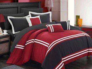 Chic Home 10 Piece Zarah Supersoft Oversized Pieced Color Block Banding Collection Comforter Set  King  Red