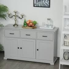 BOX 1 OF 2 ONlY HOMCOM Buffet Storage Cabinet for Kitchen Dining Room Entryway with 2 Cabinets and 3 Drawers Adjustable Shelves  Retail 659 99