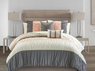 Queen 9pc Fae Comforter Set Pink   Chic Home Design
