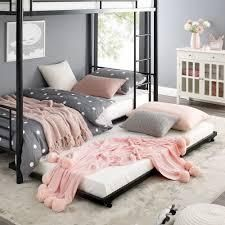 Taylor   Olive Abner Black Metal Roll Out Twin Trundle Bed Frame Retail 140 00
