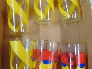6 festive juice glasses
