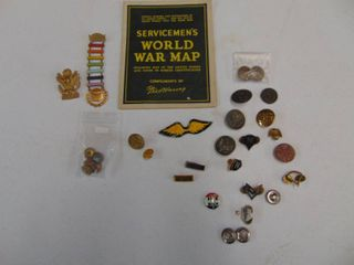Servicemen s World War Map Fred Harvey and assorted military pins