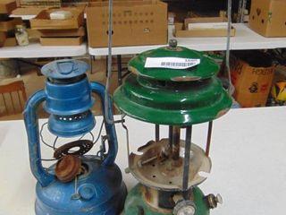 Coleman lantern and Dietz lantern with no globe