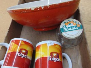 Decorative pottery bowl and foldgers cofee cups