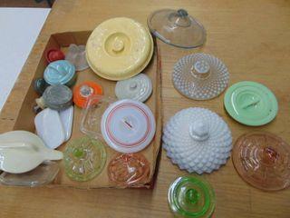 Assortment of glass lids  includes fireking