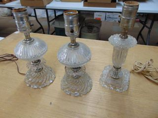 3 clear glass lamps