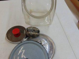 candy jar and tuxedo shoe paste