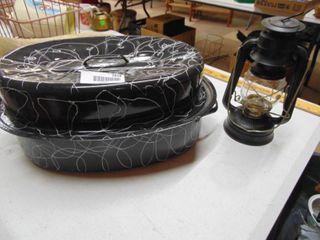 roasting pan and Dietz lantern