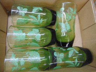 set of 5 greenery glasses