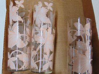 pink floral glass set 7