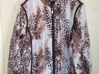 Dennis Basso Animal Print Polyester Jacket Size large