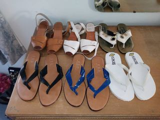 lot Of 6 Assorted Pairs Of Sandals And Shoes Sizes 7 8 5