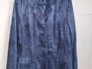 Dennis Basso Blue Animal Hide Print Jacket Size large