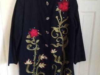 Indigo Moon Black Jacket With Roses Size large