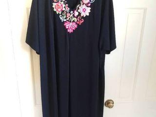 Joan Rivers Black Floral Polyester Dress