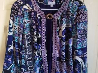 Joan Rivers Purple Top Size large with Miriam Haskell Brooch