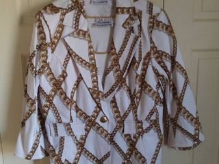 linea by louis Dell Olia White and Gold Chain Design 2 Piece Outfit