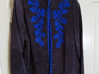 linea by louis Dell Olia Brown leather Jacket With Blue Floral Design Size large