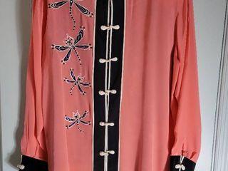 Pink Bob Mackie Asian Style Size large Blouse with Undershirt