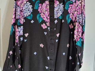 Bob Mackie Purple and Black Button Up Size large Blouse